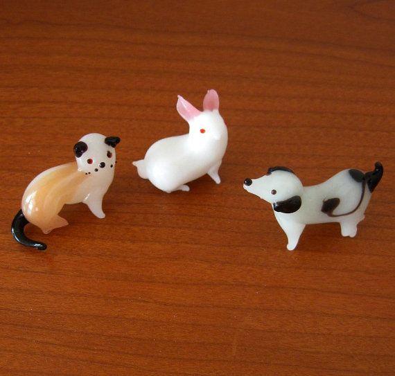 Vintage Glass Animals Miniatures Colored Dog Cat Bunny Set Of Three Glass Animals Animal Figurines Glass