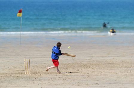 The beach  | Cricket on the beach (Visit Cornwall)