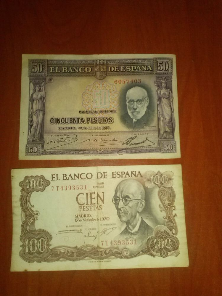 Billete 50y 100 pesetas