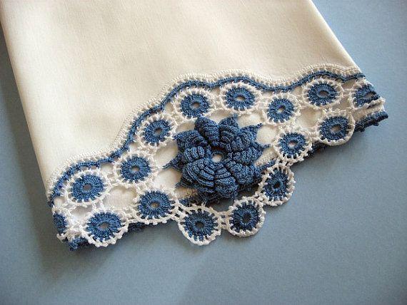 Vintage Pillowcase Blue Flower Hand Crochet Border by Meeshy