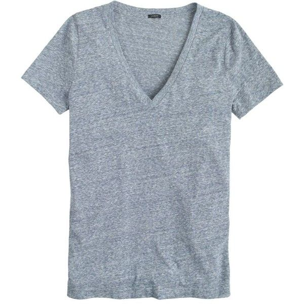 J.Crew Speckled Cotton V-Neck T-Shirt ($27) ❤ liked on Polyvore featuring tops, t-shirts, shirts, tees, cotton v neck t shirts, blue v neck t shirt, v neck t shirts, v neck tee and j crew shirt