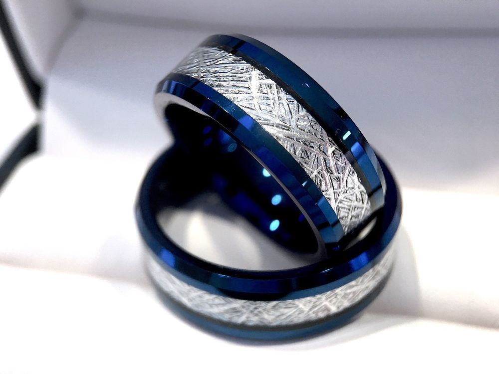 Details About Meteorite Ring Blue Tungsten Ring Blue Men