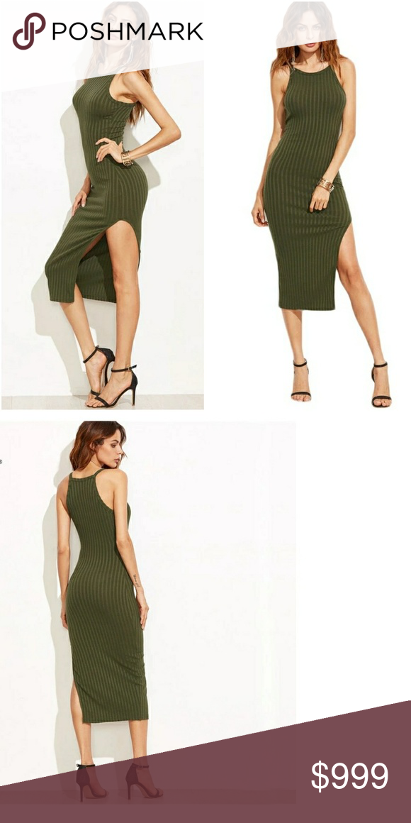 78cd350a8b0 Side Slit Ribbed Cami Midi Dress