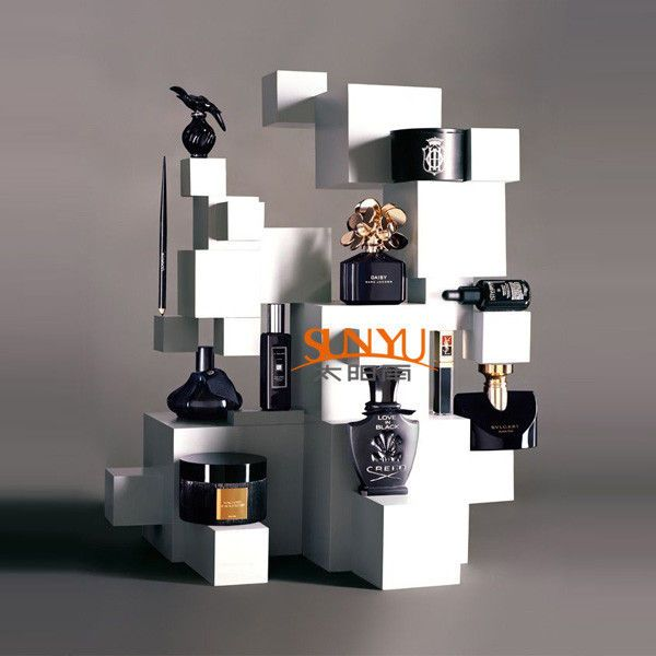 Perfume Tester Display: China Perfume Wooden MDF Display Stands Square / Cube Retail Window Display Luxurious Supplier