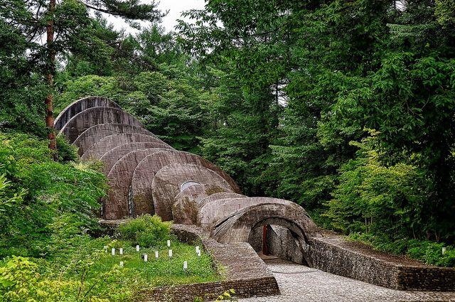 Uchimura Kanzo Stone Church by Kendrick Kellogg Designed around the five natural elements of stone, sunlight, water, green, and wood.