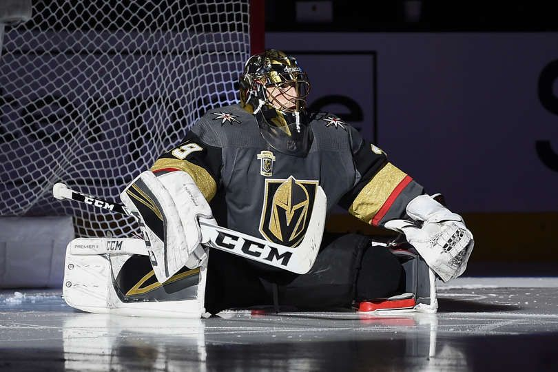 Las Vegas Nv January 13 Marc Andre Fleury 29 Of The Vegas Golden Knights Sits Near His Goal Prior To T National Hockey League Golden Knights Hockey Hockey