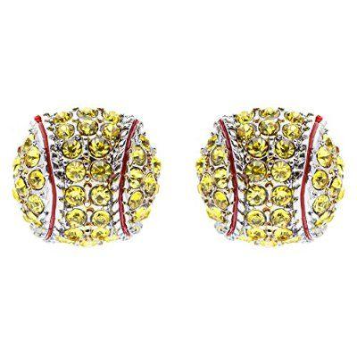 Sport Softball Crystal Rhinestone 14mm Drop Stud Fashion Earrings Silver Yellow buy at mariescrystals.com