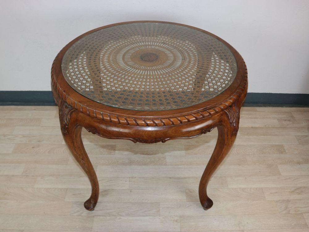 Chippendale Tisch Rund Korbgeflecht Glasplatte Antik Massivholz Chippendale Tisch Tisch Salontisch