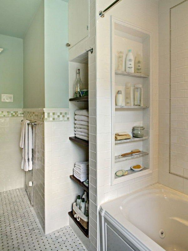 Bathtub With Storage Niches. Put in a few niches between the studs ...