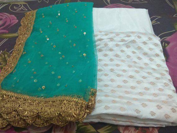 Indian pakistani salwar kameez suit fabric white color silk green