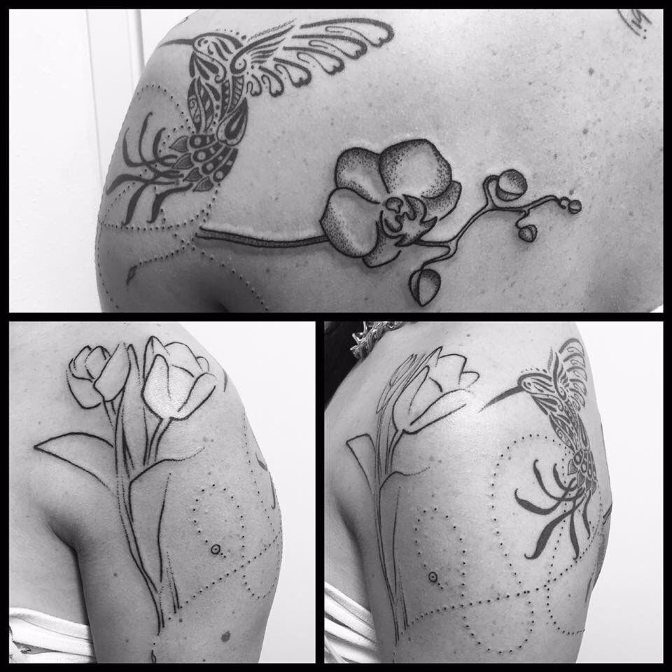 Hummingbird Flowers Tattoo By David Kalao Kulit Keras
