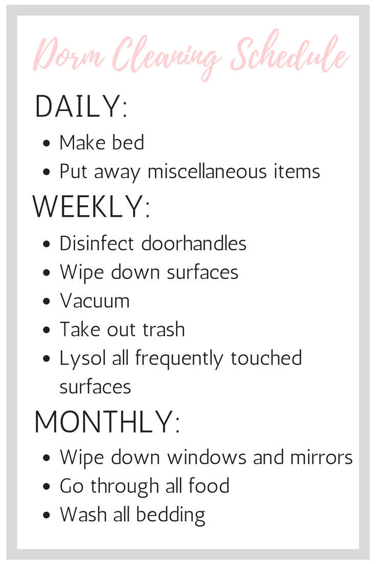 The Ultimate Guide To Cleaning Your Dorm Room  Free Printable