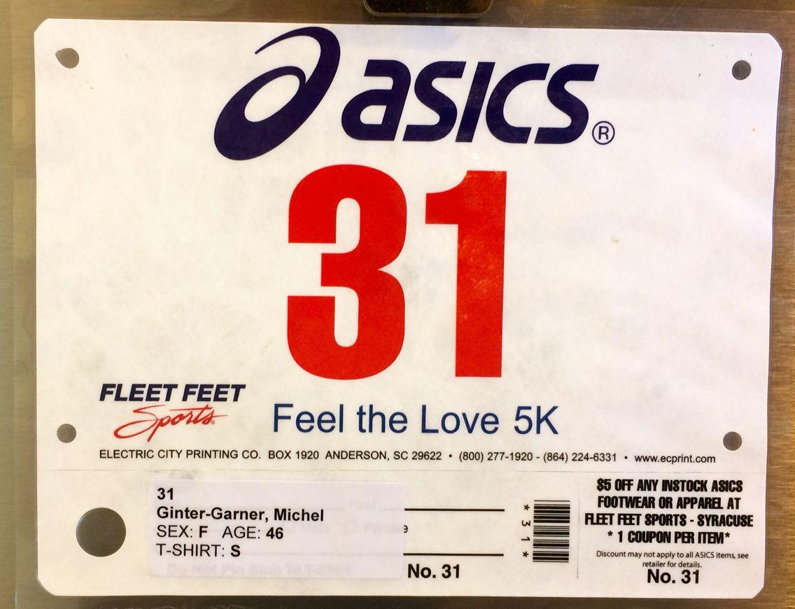 9th 5K - FEEL THE LOVE.  February 8, 2014.  Cortland, NY.  Time 30:54min (9:57).