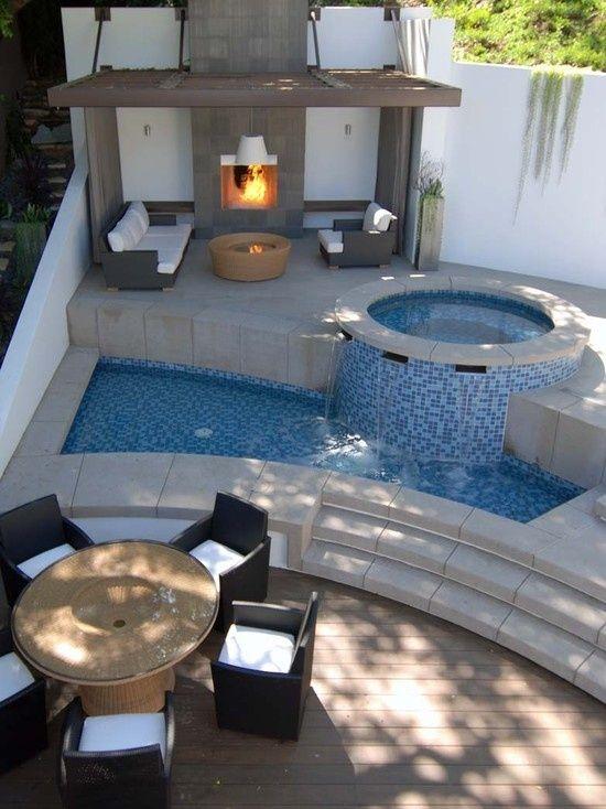 Stufenartiges design ideen f r whirlpool im garten patio g rten garten haus und garten ideen - Whirlpool im wintergarten ...
