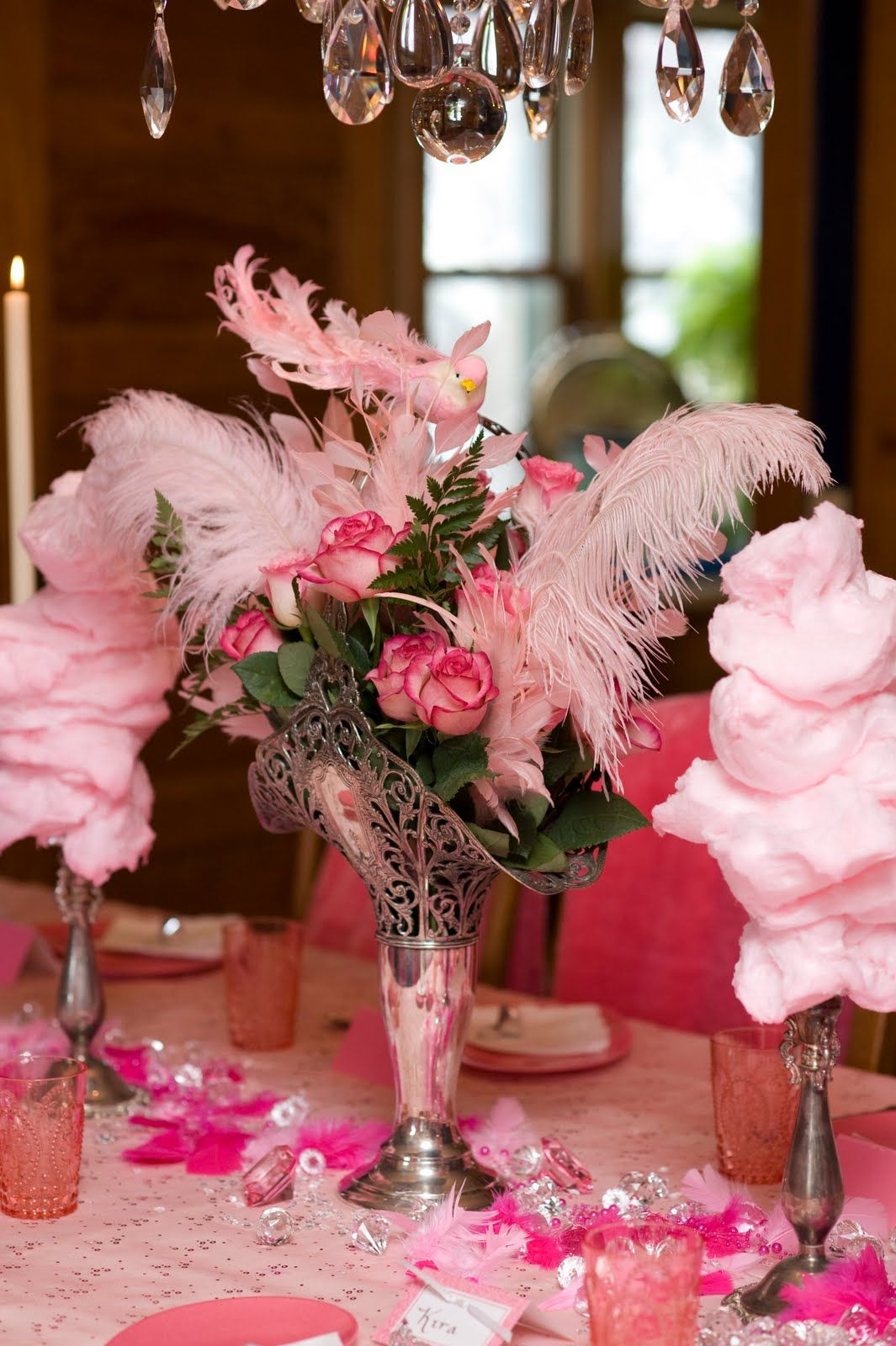 flowers & feathers centerpiece and cotton candy towers ...