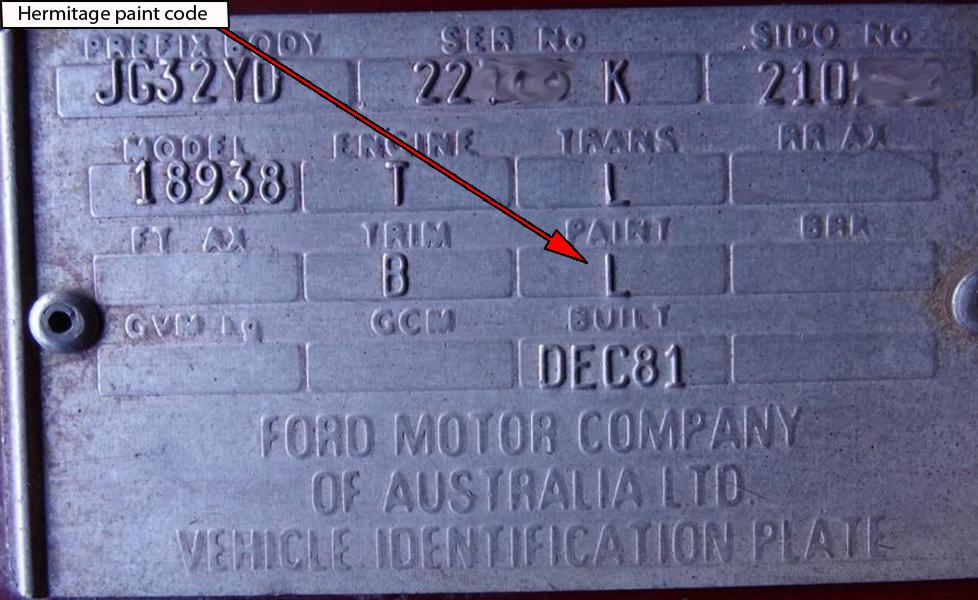 Ford Falcon XD ESP VIN plate | Ford Falcon XD ESP | Pinterest ...