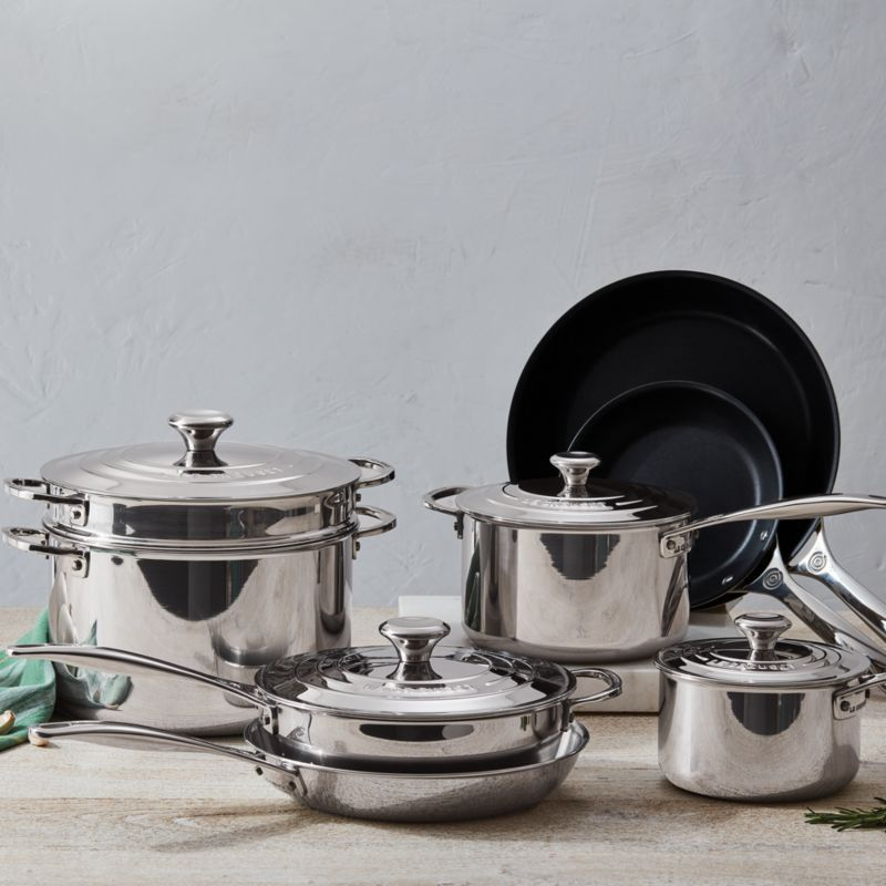 Le Creuset Signature Stainless Steel Non Stick 12 Piece Cookware Set Crate And Barrel In 2021 Cookware Set Stainless Steel Cookware Set Stainless Steel Cookware Non stick stainless steel cookware set