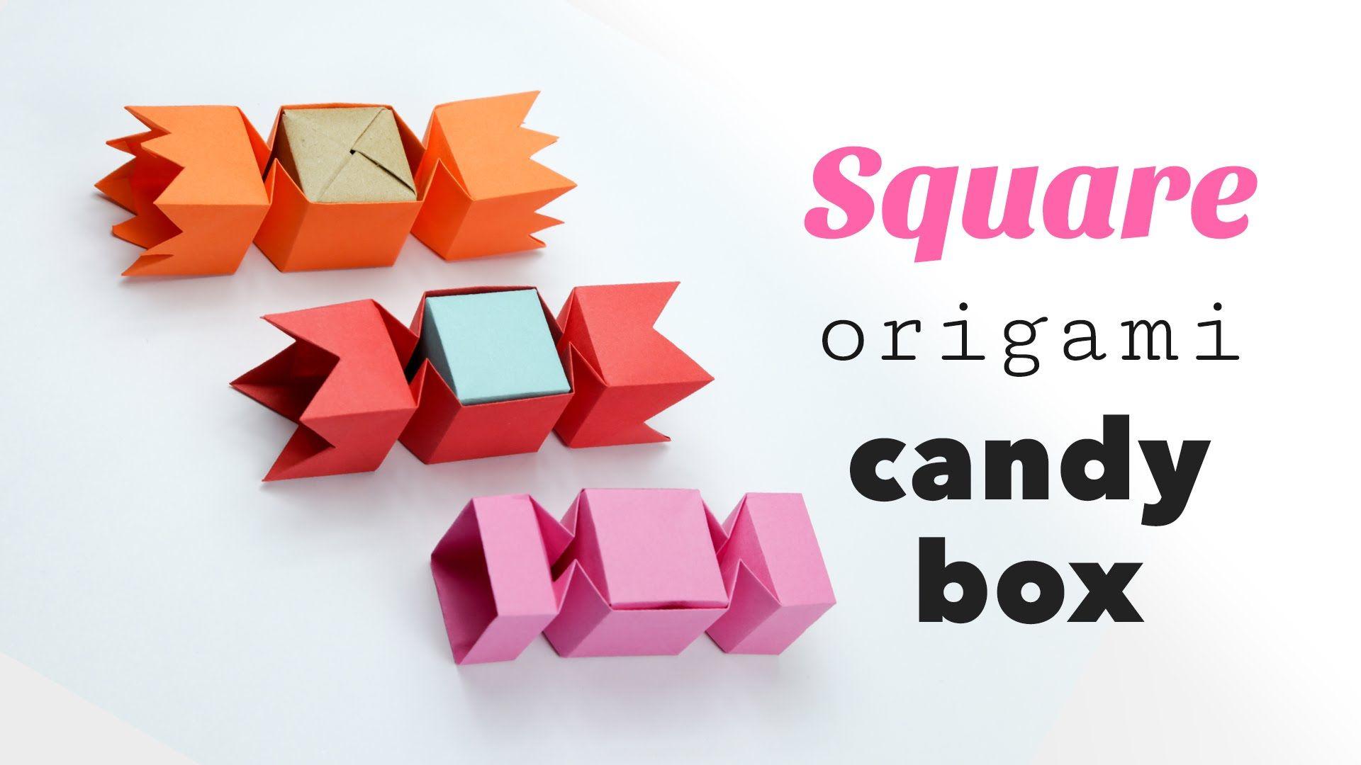 Square Origami Candy Box Tutorial Diy Origami Candy Origami Instructions Origami Candy Box