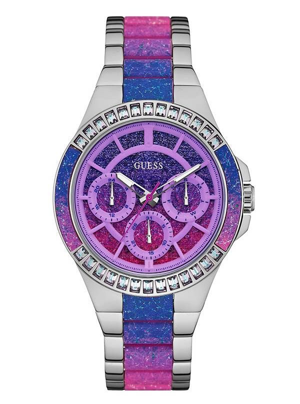GUESS SILVERTONE AND OMBRE PURPLE PINK GLITZ ANALOG WATCH