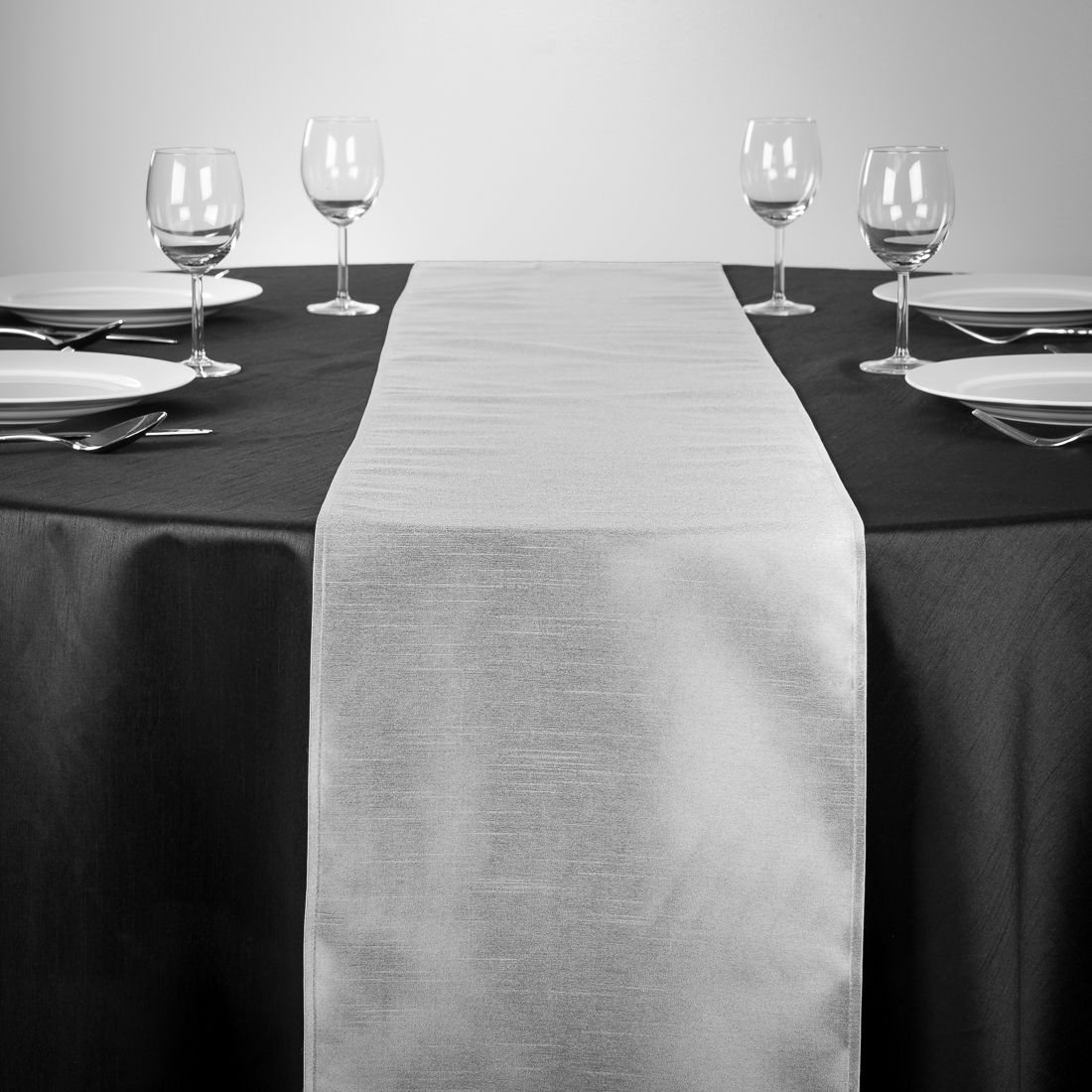 Shantung Silk Table Runners Silver For Weddings And Special Events |