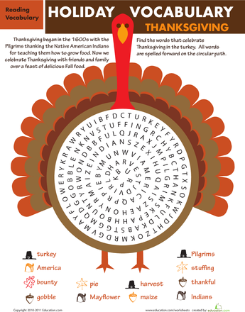 Holiday Word Search Thanksgiving Thanksgiving Pinterest