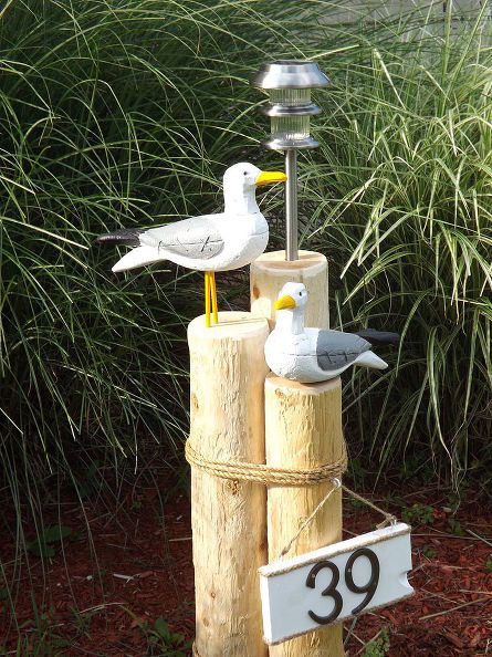 nautical lawn piling with seagulls solar light and address plaque, curb appeal, diy