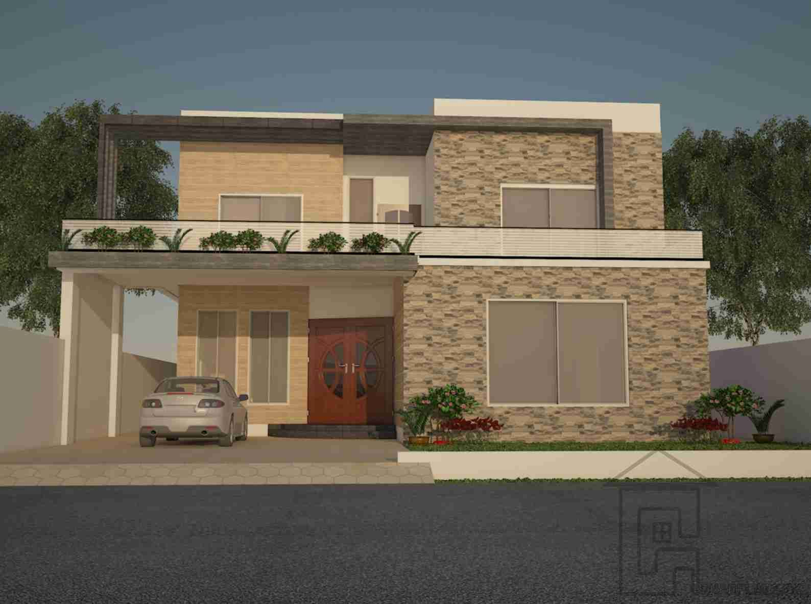 Front Elevation Of 240 Square Yards House : House front design indian style elevation