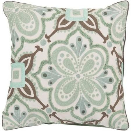 20 X 20 Seafoam Green And Taupe Radiant Flowers Decorative Throw