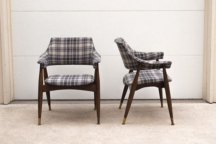 Custom Upholstered Thonet Style Mid Century Arm Chairs   Grey Plaid