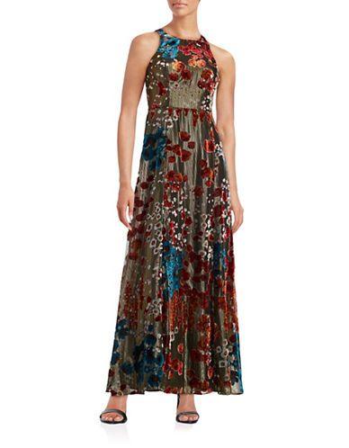 6a421fccd207 Aidan Mattox Velvet Floral Gown Women s Gold 2