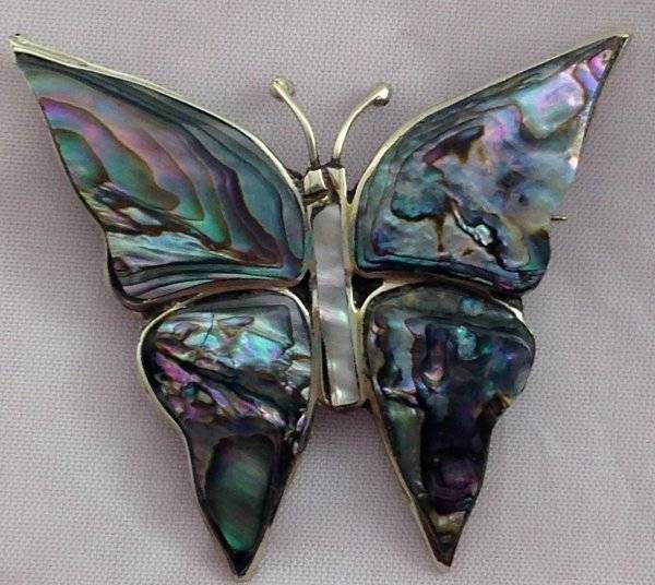 2b1f97b5a8e31 Vintage Silver MOP Butterfly Brooch Pin Abalone Mother of Pearl Made ...