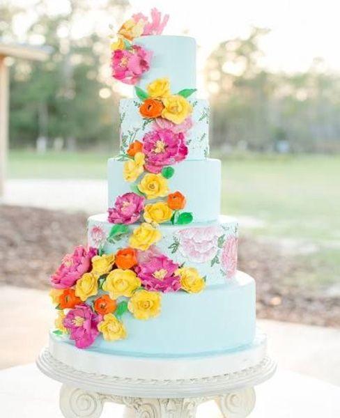 Pink Yellow And Orange Floral Wedding Cake Design