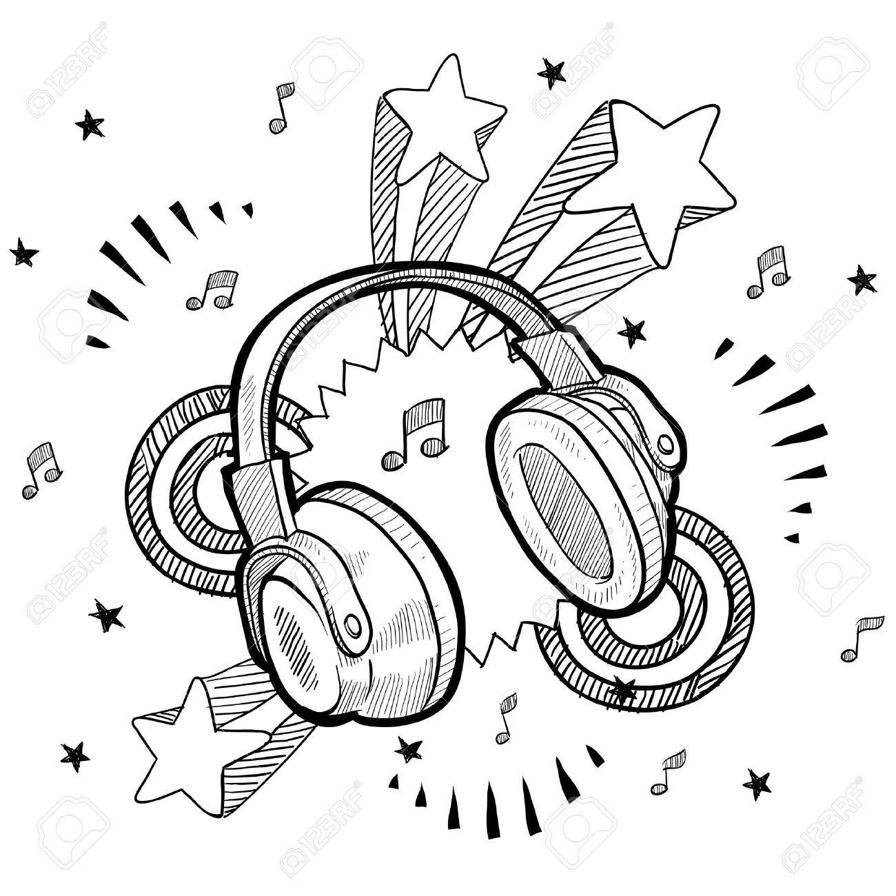 Doodle Style Audio Headphones Illustration With Retro 1970s Pop ...
