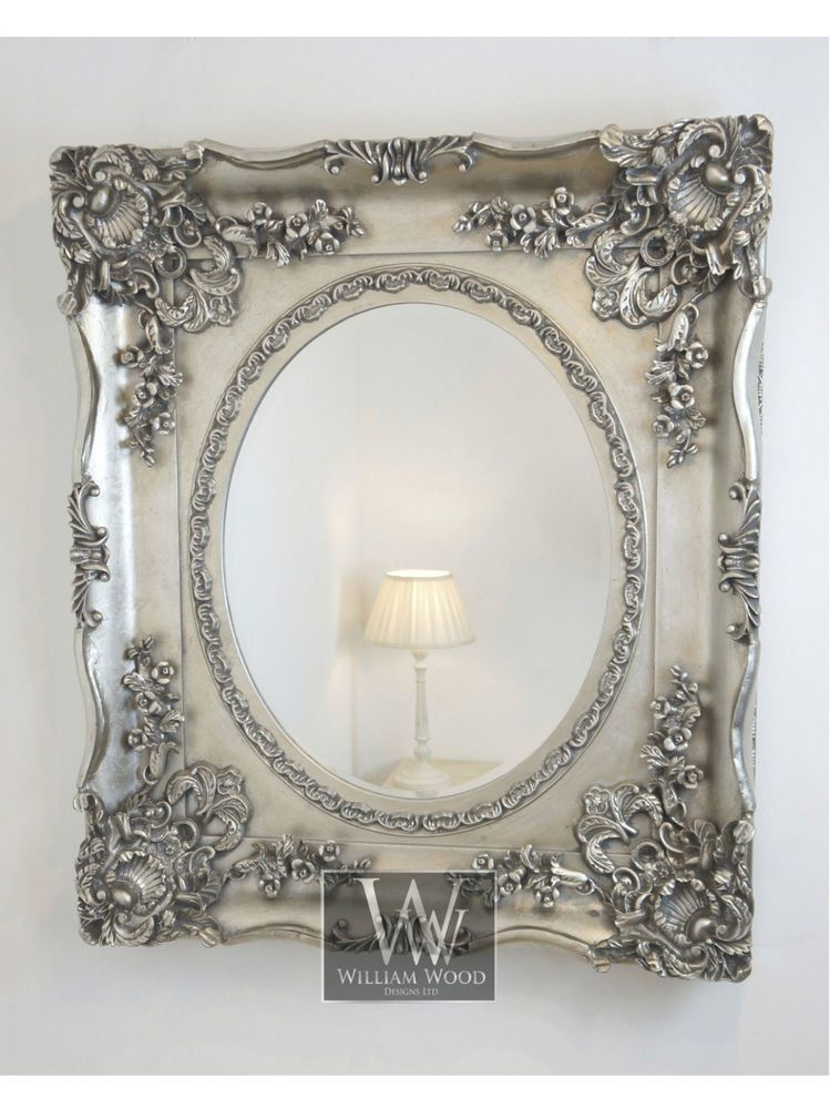 Orion Silver Ornate Oval Vintage Wall Mirror 37 X 49 X Large Vintage Mirror Wall Mirror Wall Silver Framed Mirror