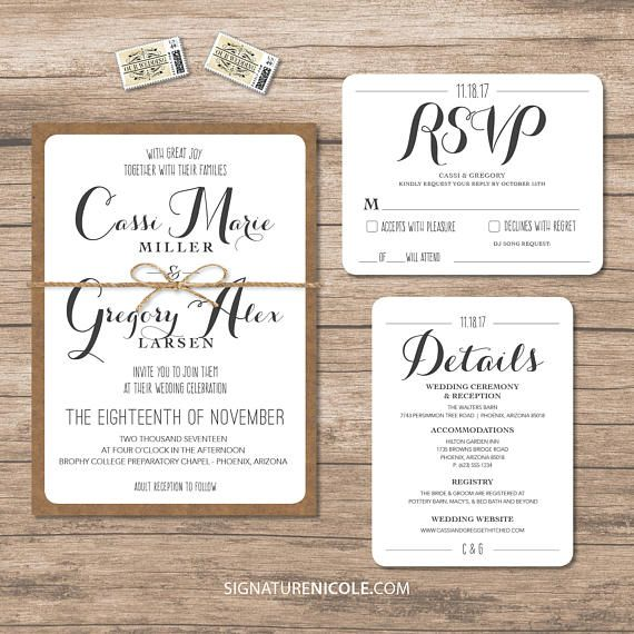 Rustic Wedding Invitation Suite Set Of 10 Quick Delivery