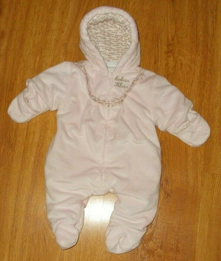 aabd2da75 Details about Calvin Klein Snowsuit Bunting Baby Infant Girl Size 6 ...