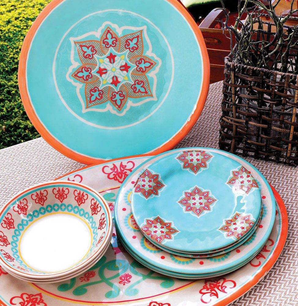 Spanish Flowers Melamine Dinnerware Collection  sc 1 st  Pinterest & Spanish Flowers Melamine Dinnerware Collection | Southwestern ...