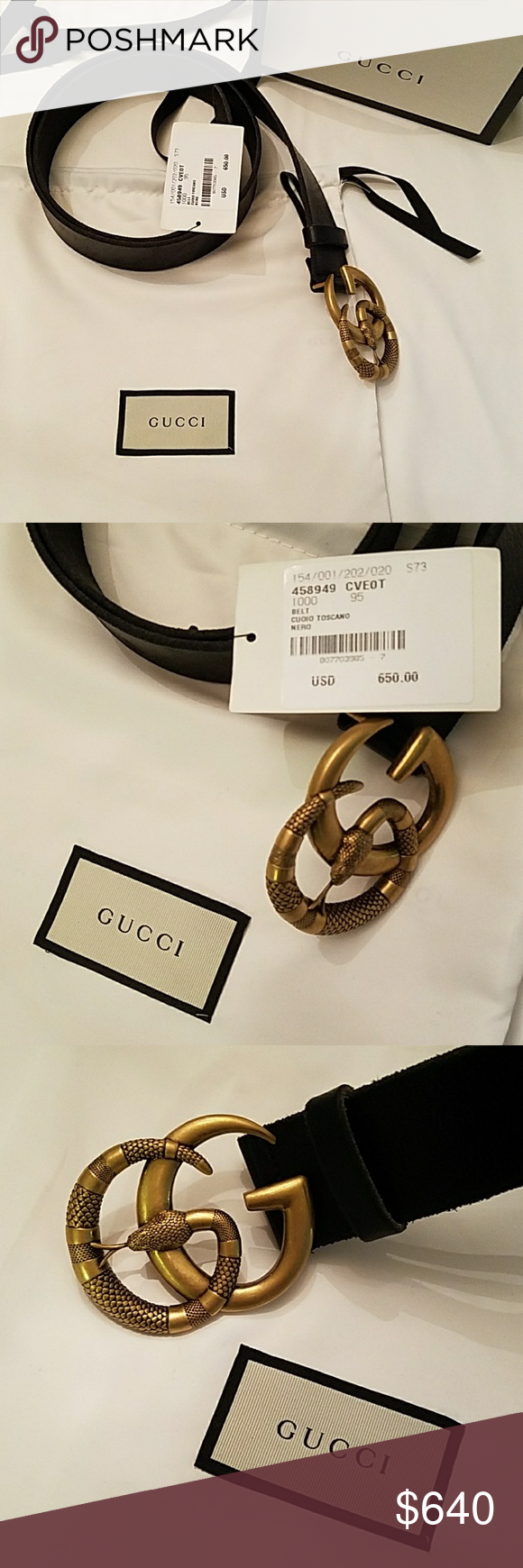76748d4729a GUCCI Snake Belt 95 GG Gold Marmont Gucci Leather GG Double G Snake Belt  The snake