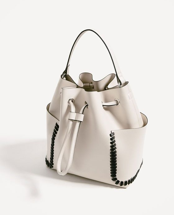 205ce457c19 Image 4 of CONTRASTING DETAILS BUCKET BAG from Zara | Black and ...