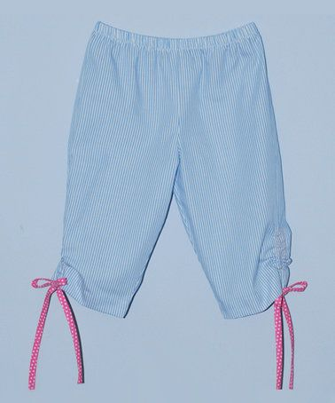 This Light Blue Stripe Capri Pants - Toddler is perfect! #zulilyfinds