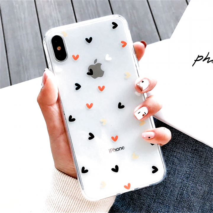 Floral Love Heart Transparent Phone Cases For iPhone X XS