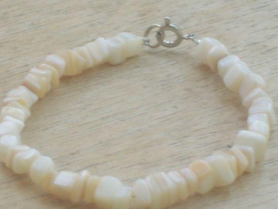 White Stone Chip Bracelet by JesadasJewels on Etsy, $5.99