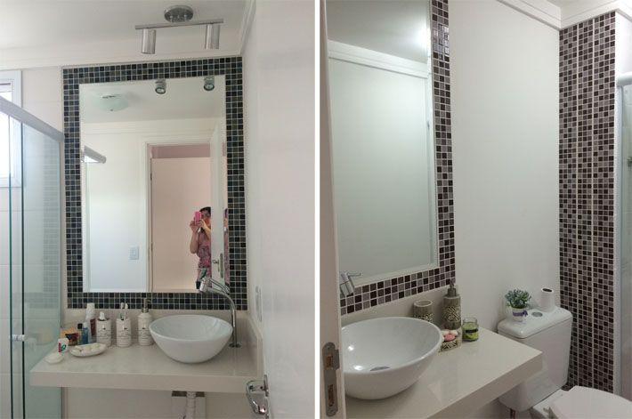 Apartamento da leitora  Quartzo branco, Bancadas e Banheiros -> Banheiro Com Pastilha Em Volta Do Espelho