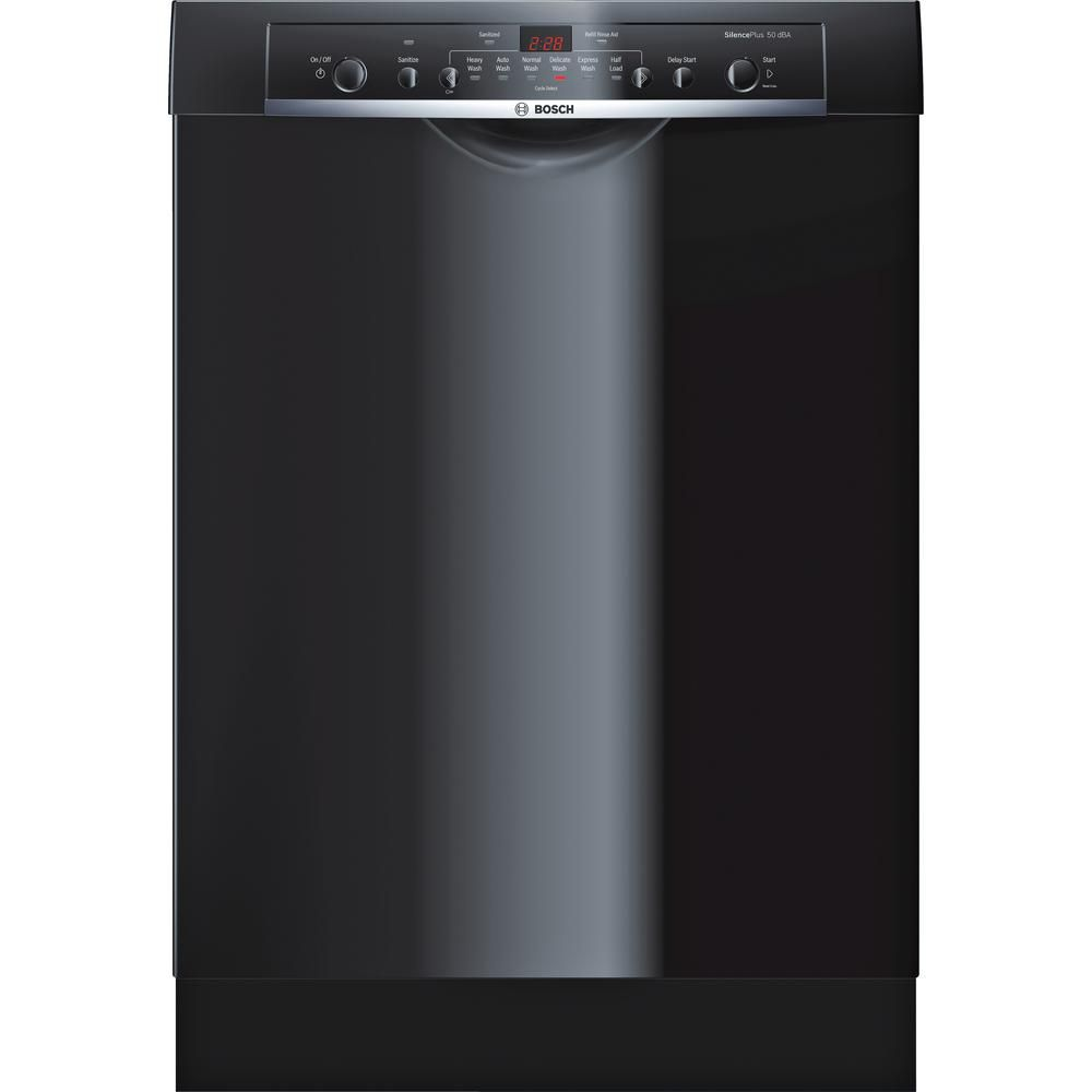 Bosch Ascenta Front Control Tall Tub Dishwasher In Black With Hybrid Stainless Steel Tub 50 Dba She3ar76uc The Home Depot Steel Tub Black Dishwasher Built In Dishwasher