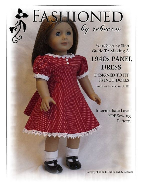 Pixie Faire Fashioned by Rebecca 1940\'s Panel Dress Doll Clothes ...