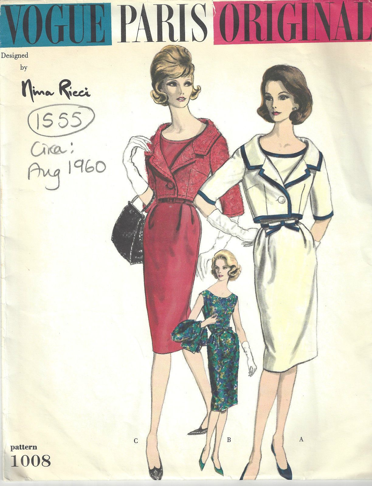 1960 Vintage VOGUE Sewing Pattern B38 DRESS & BOLERO JACKET (1555 ...