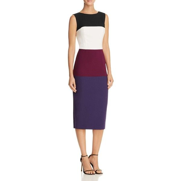 Black Halo Berlin Color Block Dress (£328) ❤ liked on Polyvore featuring dresses, bombcicle, colorblocked dress, color block dress, colour block dress, block print dresses and lining dress