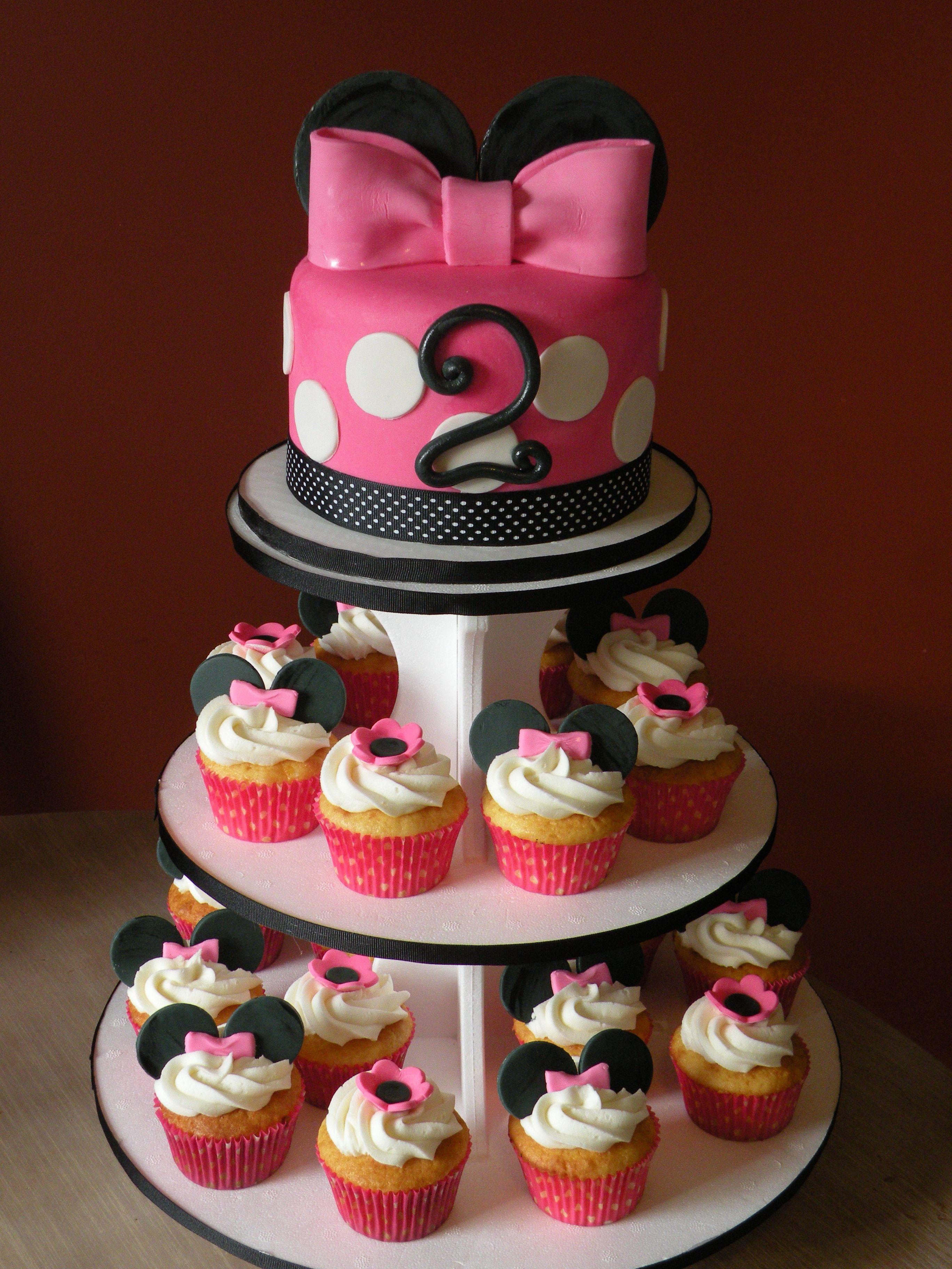 minnie mouse birthday cakes minnie mouse cake flower cupcakes cupcake ...