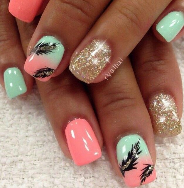 Mint Green Peach Gold Feather Nails Feather Nail Designs Feather Nail Art