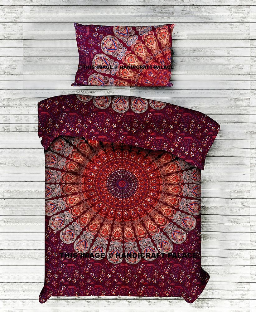 details zu indischen pfau mandala baumwolle bettbezug hippie bettw sche reversibel tr ster. Black Bedroom Furniture Sets. Home Design Ideas